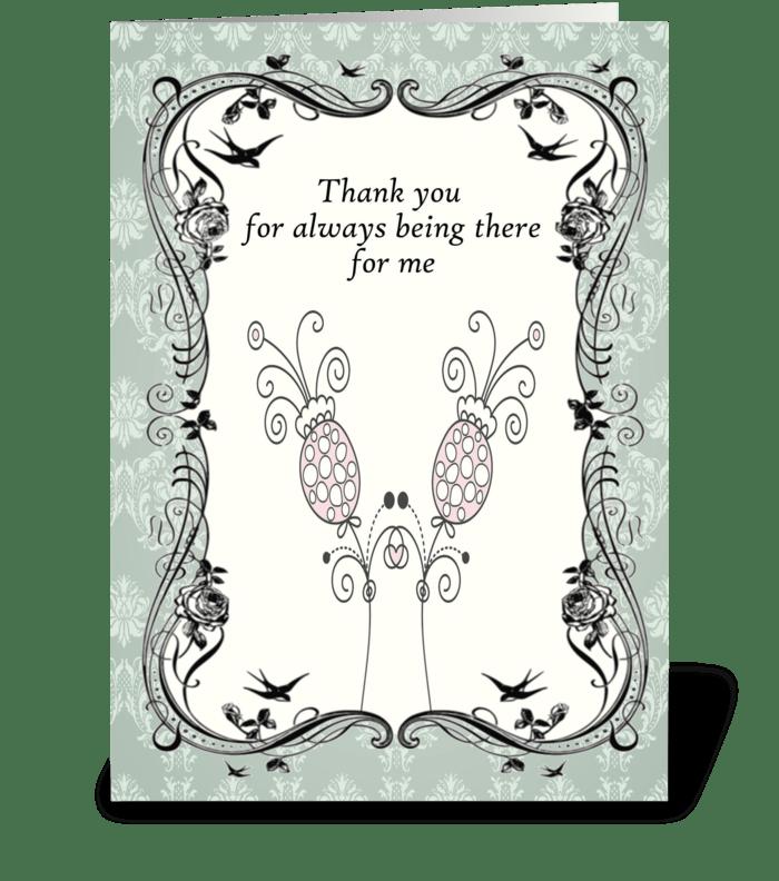 Vintage Aqua Flower Thank You Card greeting card