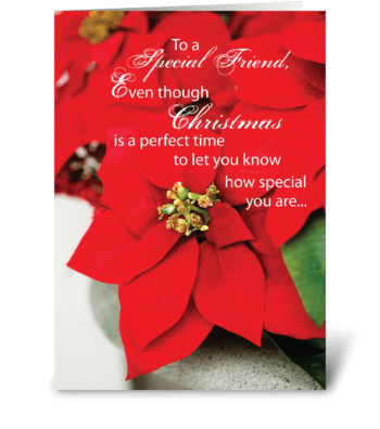 Special Friend Christmas Poinsettia greeting card