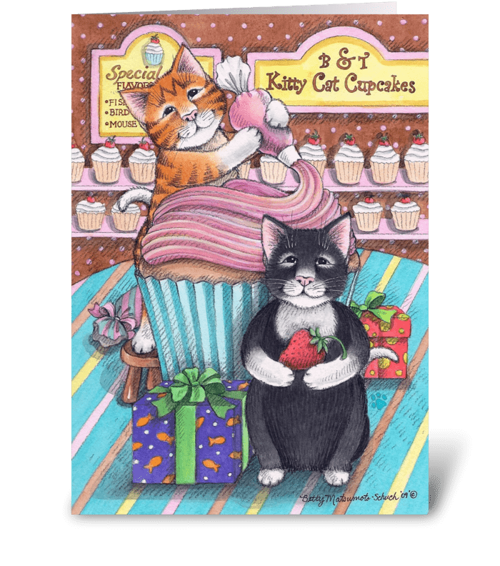 Cupcake Cats Happy Birthday #59 greeting card