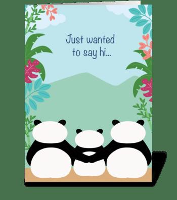 Pandas Hello greeting card