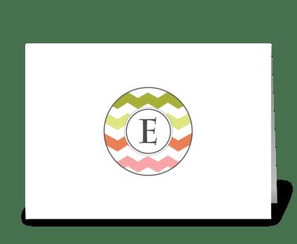 "Chevron Monogram ""E"" greeting card"