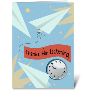 Thanks for Listening Airplanes  greeting card