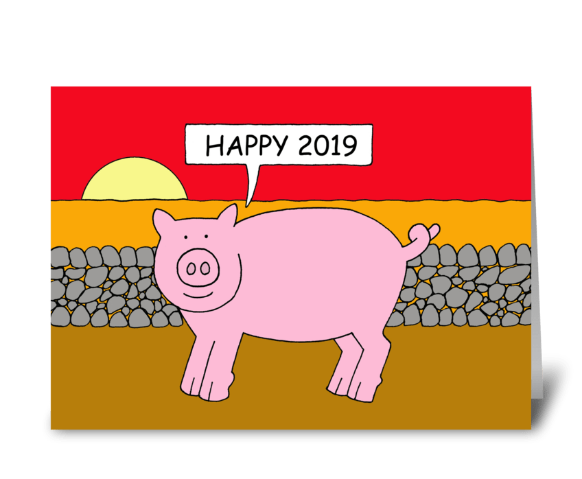 Chinese New Year of the Pig 2019 greeting card