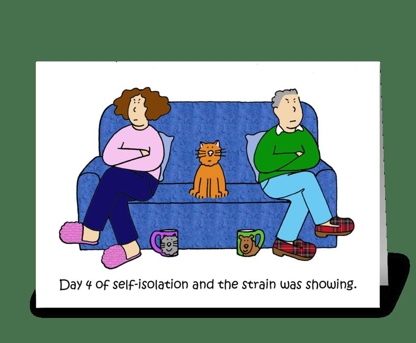 Self-isolation cartoon, couple. greeting card