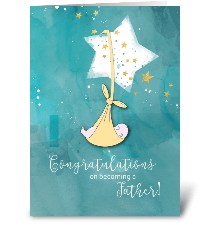 Becoming a Father, Congratulations, Baby greeting card