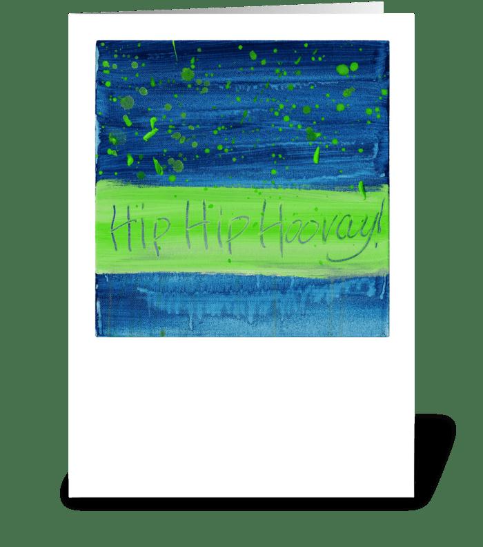 Hip Hip Hooray! - Green on Blue greeting card