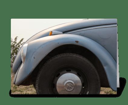 Blue VW Beetle greeting card