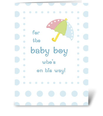Baby Shower for Boy with Dots, Umbrella greeting card
