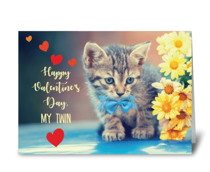 My Twin Love Valentine Kitten greeting card