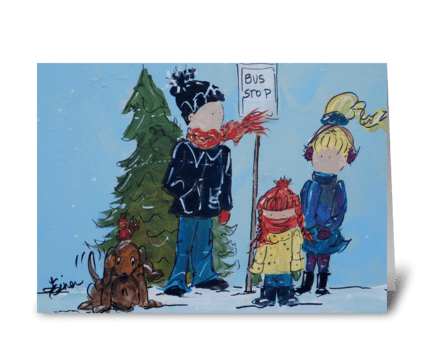 Bus Stop greeting card