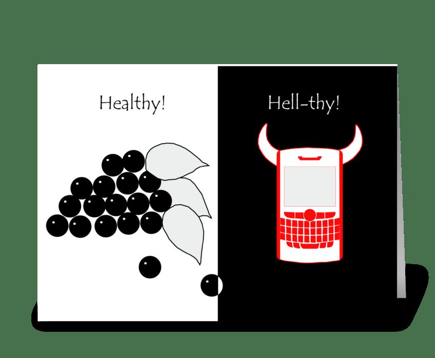 Healthy VS Hellthy greeting card