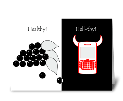Healthy VS Hellthy greeting card
