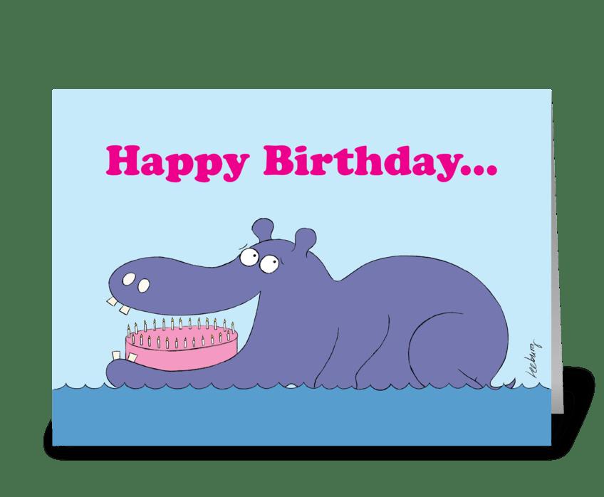 Birthday Hippo greeting card