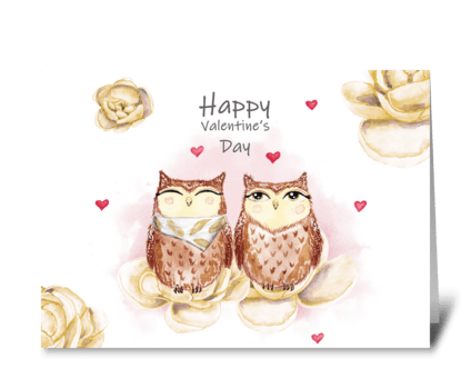 Watercolor cute owls and peonies greeting card