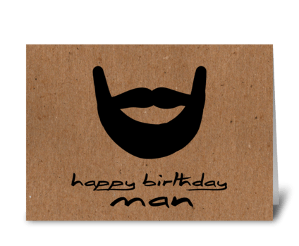Happy Birthday Man Brown Paper greeting card