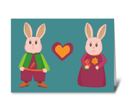 Hares in love greeting card