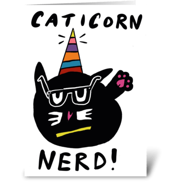 Caticorn Nerd greeting card