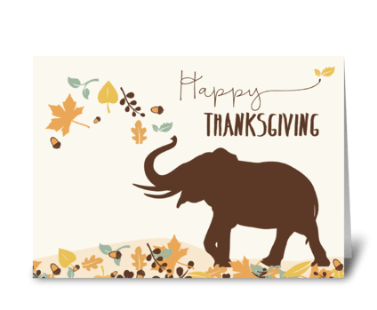 Thanksgiving w/ Joyful Elephant & Leaves greeting card
