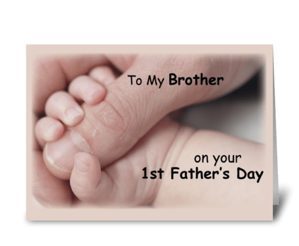 Brother on First Father's Day, Baby Hand greeting card