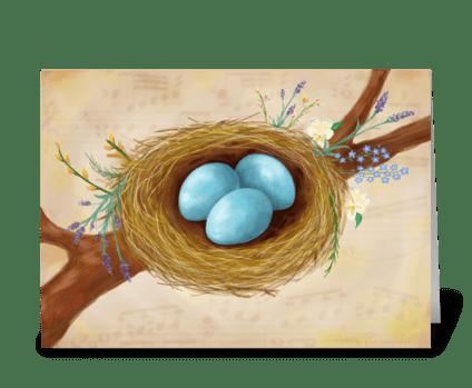 Birds Nest & Flowers greeting card greeting card