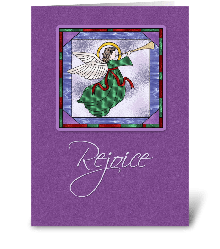 Angel, Rejoice, Purple Christmas greeting card