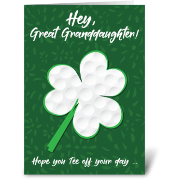 Great Granddaughter Golf St. Patrick's  greeting card