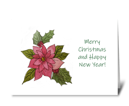 Poinsettia Watercolor Ink Christmas Card greeting card