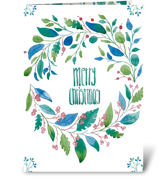 Watercolor Merry Christmas Floral card greeting card