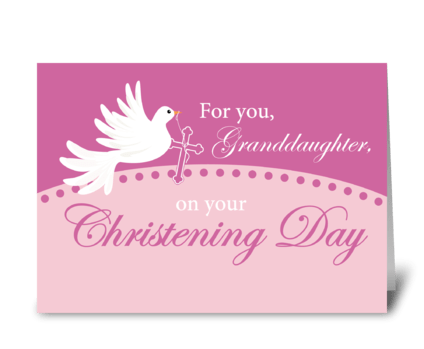 Granddaughter Christening Dove on Pink greeting card