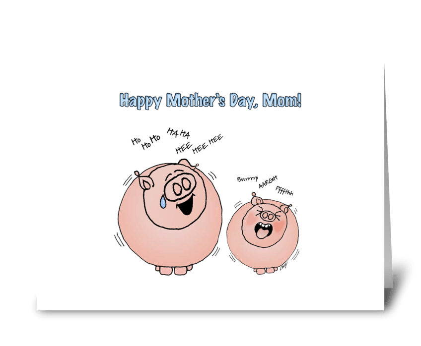 Cartoon Pigs. Mother's Day miss you. greeting card