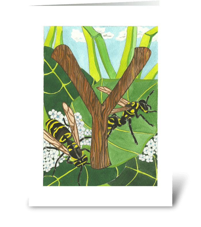 Y for Yellow Jacket greeting card