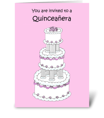 Quinceanera Invitation lovely cake.  greeting card