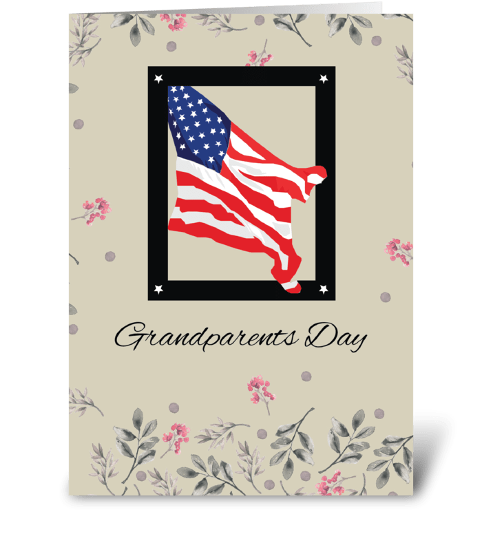 Happy Grandparents Day, American Flag greeting card