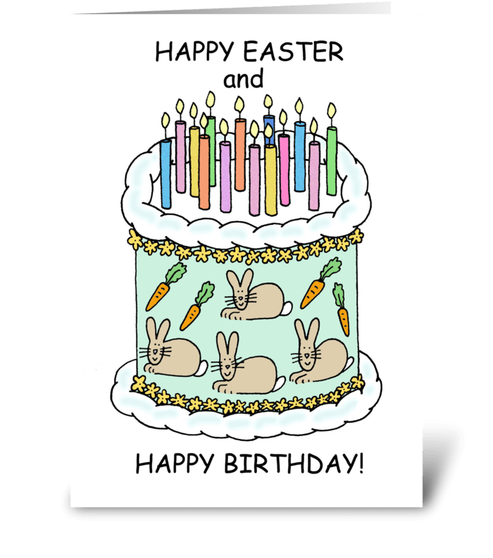 Happy Easter BIrthday, Cartoon Cake. greeting card