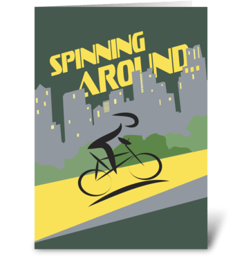 Spinning Around - Bicycling Thank You greeting card