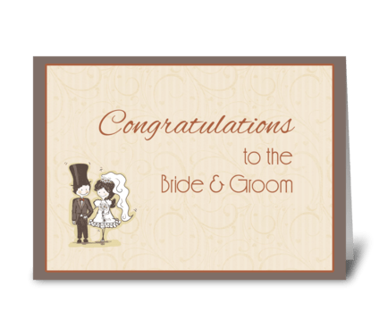 Bride, Groom Stick Couple Congratulation greeting card