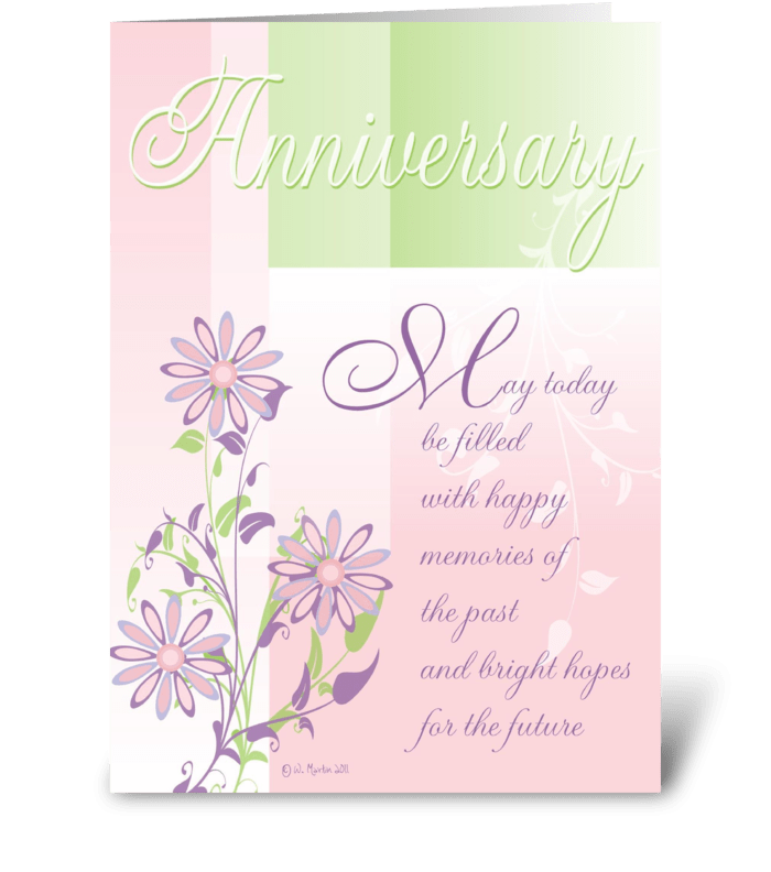 Pastels and Flowers Anniversary Card greeting card