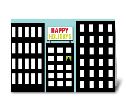 Holiday in the city greeting card