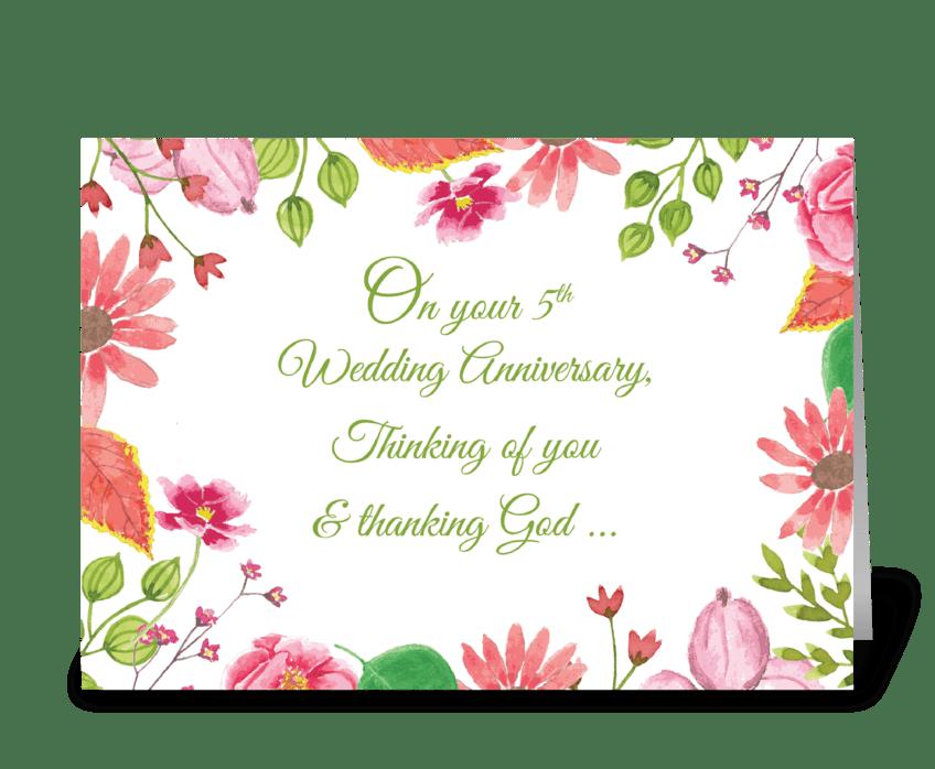 Religious 5th Wedding Anniversary greeting card