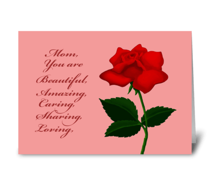 Mother's Day Card With Rose greeting card