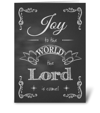 Chalkboard Christmas - Joy to the World greeting card