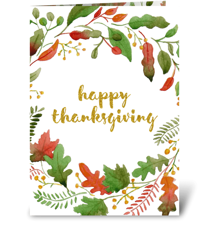 Watercolor floral Thanksgiving card  greeting card