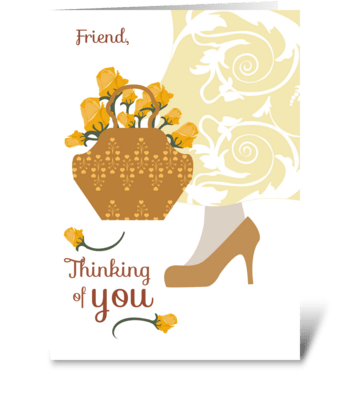 Yellow Roses Friend Thinking of You  greeting card