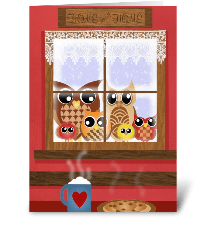 Window Owls  greeting card
