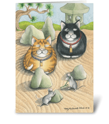 Meditating Cats #45 greeting card