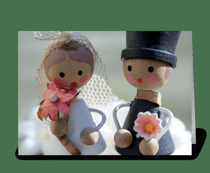 Sweet Bride & Groom greeting card