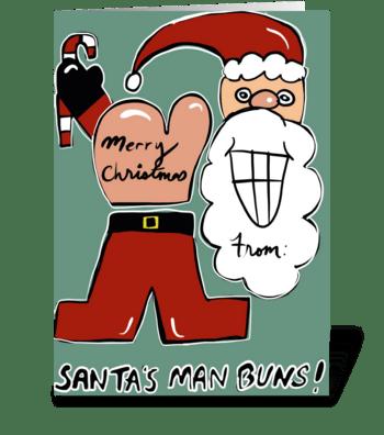 Santa's Man Buns greeting card