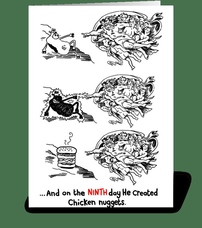God Vs Fast Food greeting card