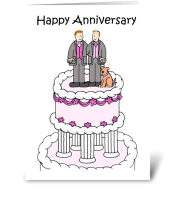 Gay male couple Anniversary greeting card