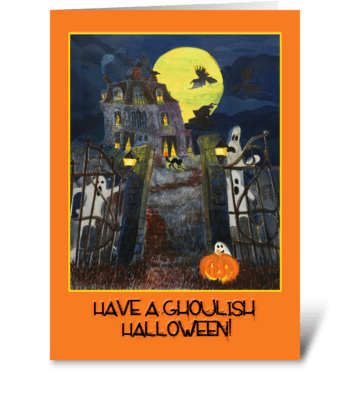 Scary Halloween greeting card